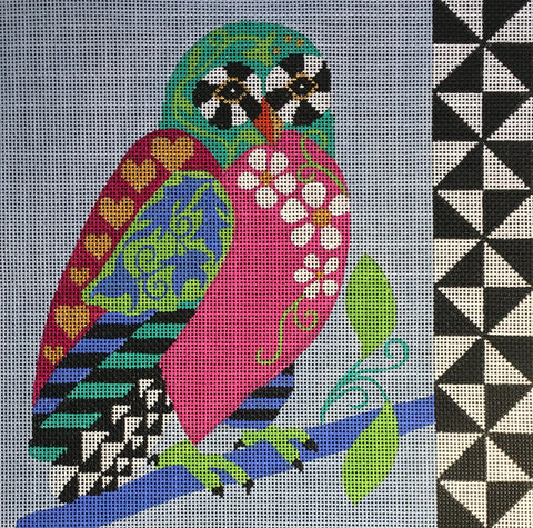 Needlepoint Handpainted Amanda Lawford GRAPHIC OWL 11x11