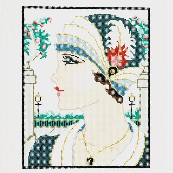 Needlepoint Handpainted LEE Vogue Girl Gray 8x10