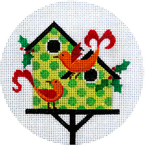 Needlepoint HandPainted JP Needlepoint CHRISTMAS Green Birdhouse