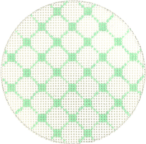 "Needlepoint Handpainted Canvas LEE Green NETTING 3.2"" BJ Size"