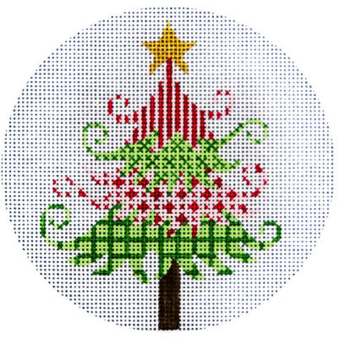 NEEDLEPOINT HandPainted JP Needlepoint CHRISTMAS Tree Green and Red 4.5""