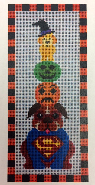 Needlepoint HandPainted JP Needlepoint HALLOWEEN Super Dog 4x10