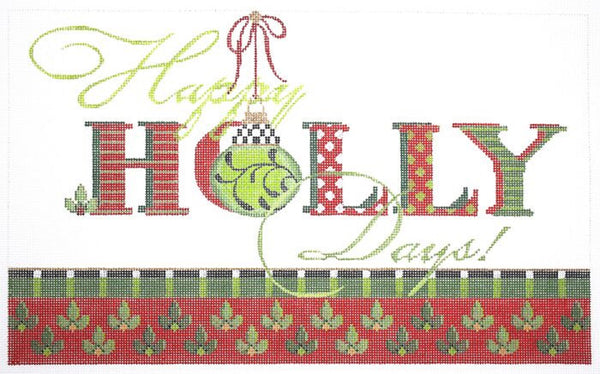 Needlepoint Handpainted KELLY CLARK Christmas Happy Holly Days 13x8