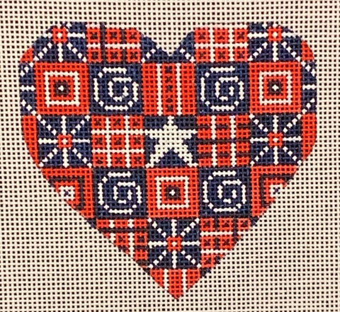 Needlepoint Handpainted CHRISTMAS Danji Heart with Swirls 3x3