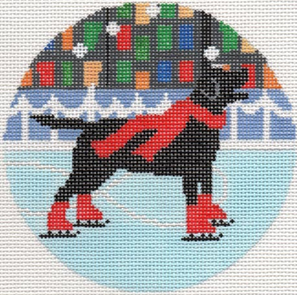Needlepoint Handpainted Christmas LIORA MANNE Dog Holiday Ice Ornament