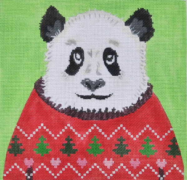 Needlepoint Handpainted CHRISTMAS Danji Holiday Sweater Panda ZIA
