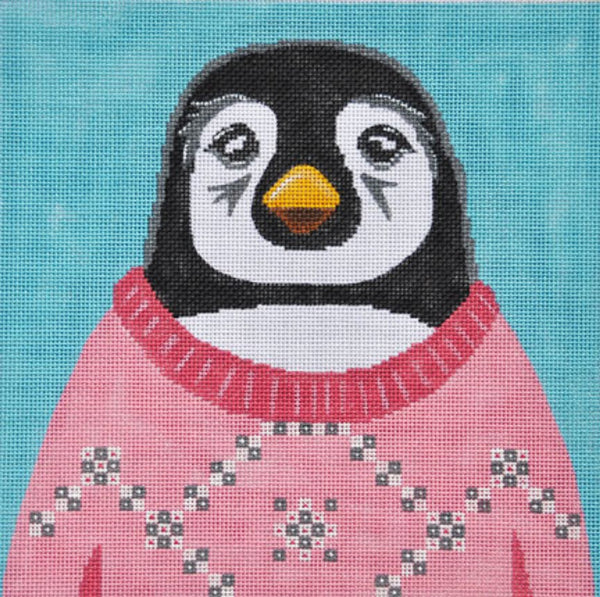 Needlepoint Handpainted CHRISTMAS Danji Holiday Sweater Penguin ZIA