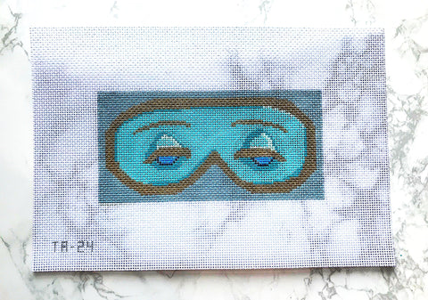 Needlepoint Handpainted Thorn Alexander Holly Golightly Sleep Mask 5x4