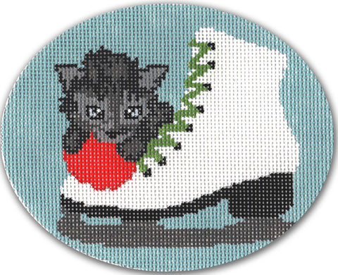 Needlepoint Handpainted CHRISTMAS CBK Ice Skate Kitten ORNAMENT 4x5