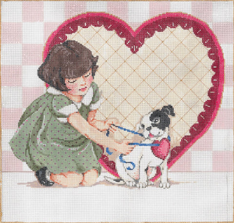 Needlepoint HANDPAINTED Canvas Sandra Gilmore VALENTINES Im Yours 11.25 x 10.75