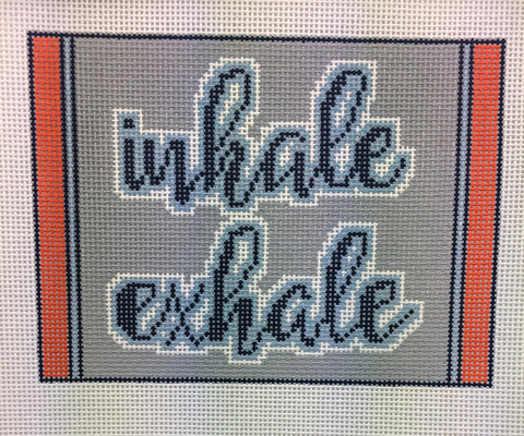 NEEDLEPOINT Handpainted Tess Thorn Alexander INHALE EXHALE Yoga 7x5