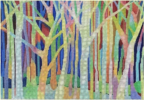 Needlepoint Handpainted Brenda Stofft Into the Woods 11x8