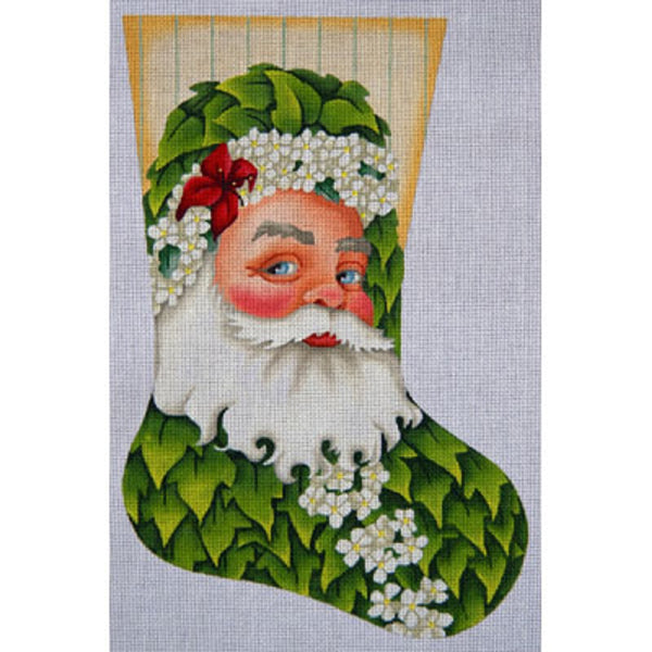 Needlepoint HandPainted JP Needlepoint CHRISTMAS Stocking Ivy Santa 17""