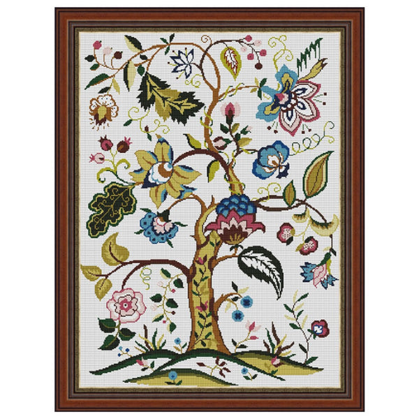 Counted Cross Stitch Kit Jacobean Tree Creative Needle Arts 15x20.5