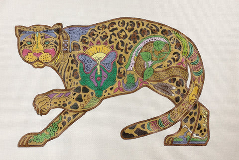 Needlepoint HandPainted DANJI Jaguar 12x8