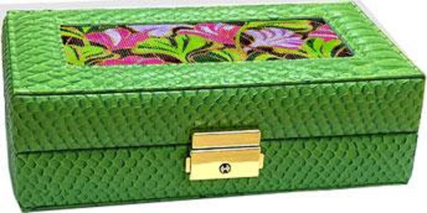 Needlepoint LEE Jewelry Case LEATHER Alligator Green