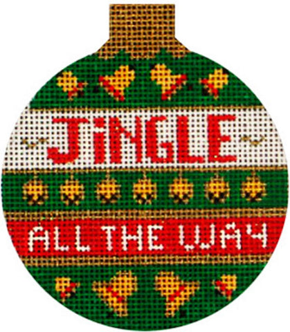 Needlepoint Handpainted Amanda Lawford CHRISTMAS Jingle all the Way 3""