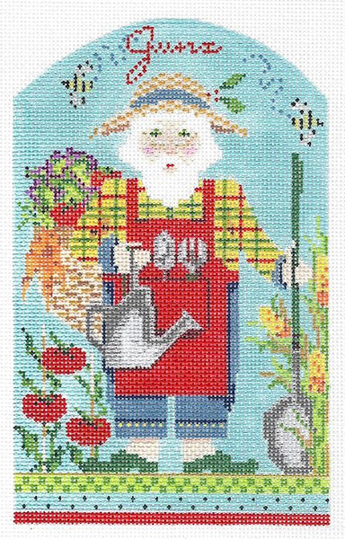 Needlepoint Handpainted Kelly Clark Christmas June Santa +SG