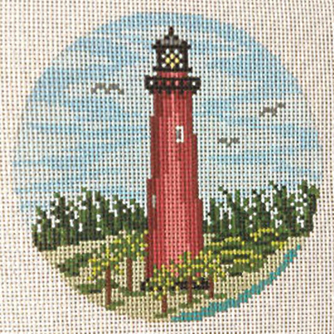 Needlepoint Handpainted Christmas Needle Crossings Jupiter Lighthouse 4""
