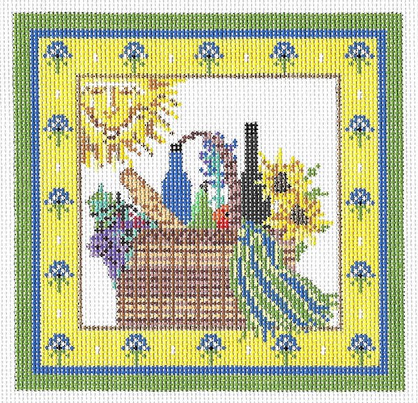 Needlepoint Handpainted KELLY CLARK Provence Picnic Basket w/ Embellishment Kit