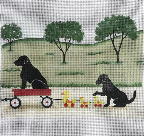 Needlepoint Handpainted Cindi Lynch LABRADOR Family Taking Ride 8x11