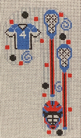Needlepoint Handpainted CHRISTMAS Danji Lacrosse Candy Cane 3x5