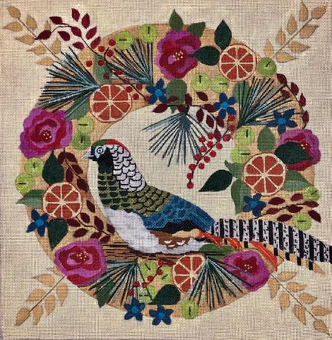 Needlepoint Handpainted Melissa Prince Lady Amherst Pheasant WREATH 14""