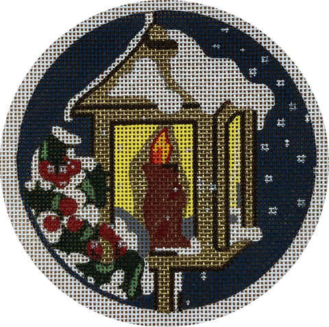 Needlepoint Handpainted CHRISTMAS Melissa Prince Lantern w/ Holly
