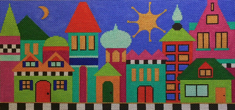 Needlepoint Handpainted Amanda Lawford Large Buildings 16x8