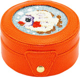 Needlepoint Lee Gift Box Leather Orange