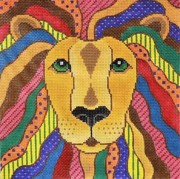 Needlepoint HandPainted JP Needlepoint LEO the Lion Hearted 9x9