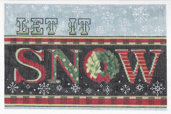 Needlepoint Handpainted KELLY CLARK Christmas Let it Snow 10x7