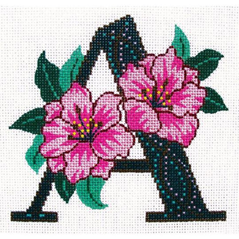 NEEDLEPOINT HANDPAINTED Canvas LEE'S Initial LETTER A Azalea 16M NEW