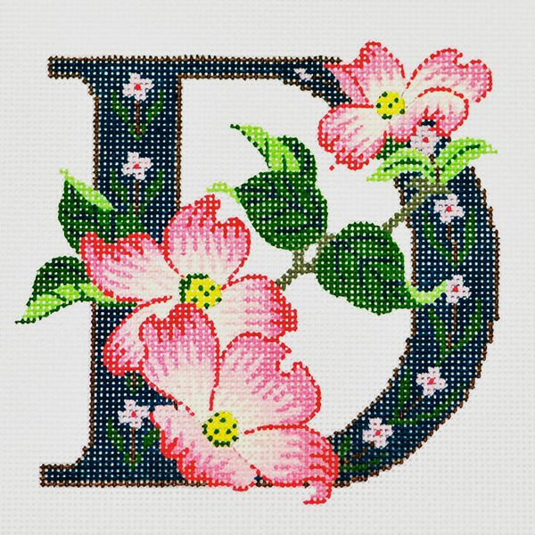 Needlepoint Handpainted Canvas LEE'S Initial LETTER D Dogwood 7 x 7 16M