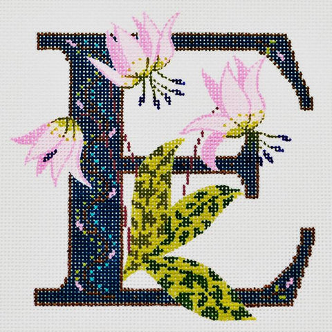 NEEDLEPOINT HANDPAINTED Canvas LEE Iniltial LETTER E Erythronium