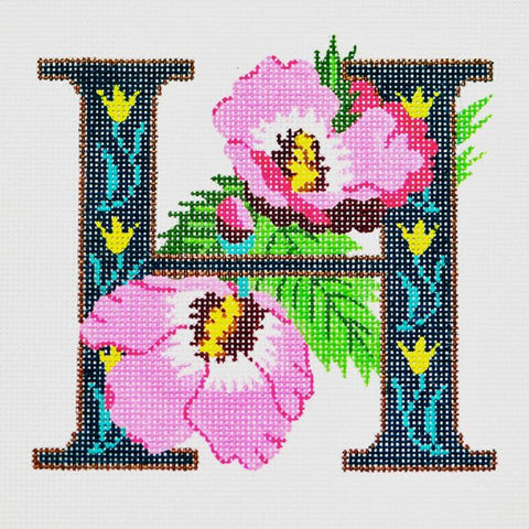 Needlepoint Handpainted LEE'S Initial LETTER H Hibiscus 7x7
