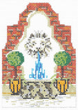 Needlepoint Handpainted KELLY CLARK Village Fountain w/ Stitch Guide
