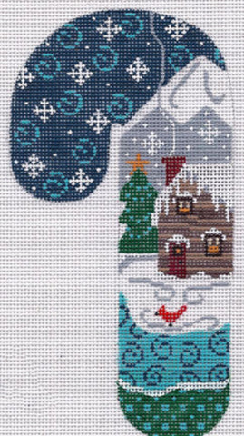 NEEDLEPOINT Handpainted CHRISTMAS Candy Cane LOG Cabin Ornament Danji