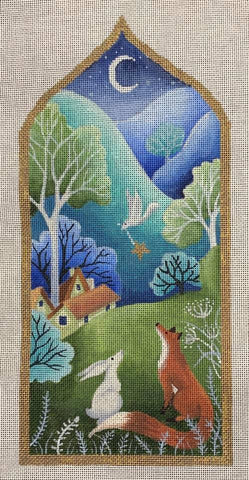 Needlepoint Handpainted Brenda Stofft Looking for Home 12.5""