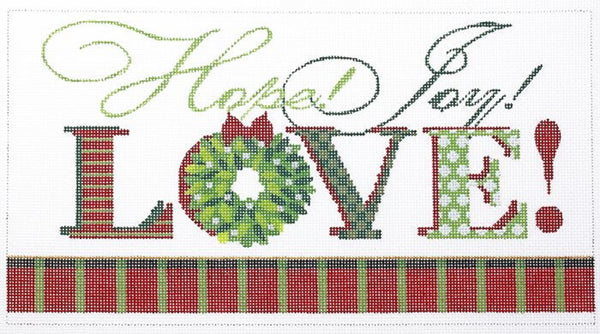 Needlepoint Handpainted Kelly Clark Christmas Love 10x6