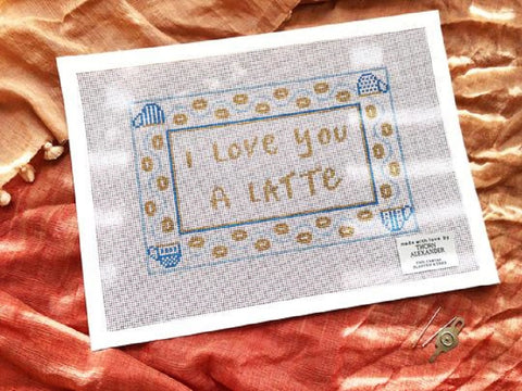 Needlepoint Handpainted Thorn Alexander Love you a Latte 10x6
