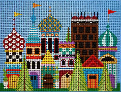 Needlepoint Handpainted JP Needlepoint Magical Village 11x15