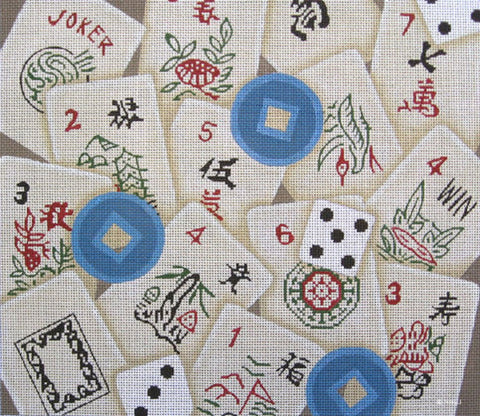 Needlepoint HandPainted JP Needlepoint MAHJONG Tiles 12x14