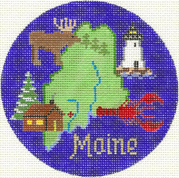 Needlepoint Handpainted Silver Needle Maine Christmas Ornament