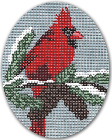Needlepoint Handpainted CHRISTMAS CBK Cardinal Male ORNAMENT 5x4