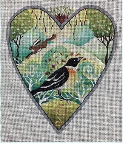 Needlepoint Handpainted Brenda Stofft May Meadow Heart 8x9