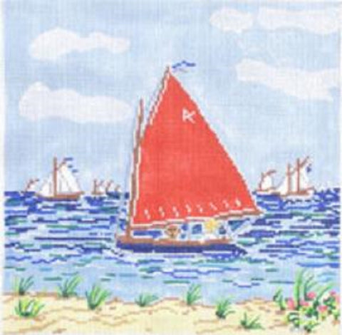 Needlepoint Handpainted Cooper Oaks Mimis Sailboat 8x8