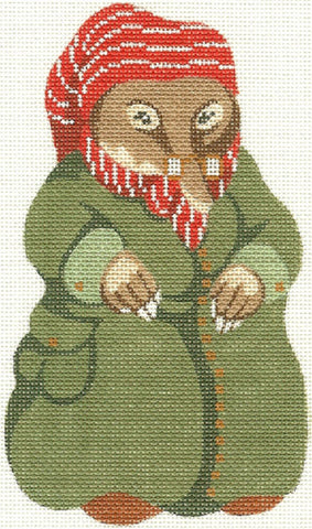 Needlepoint Handpainted Christmas Wind Willows Mole Silver Needle 4x7