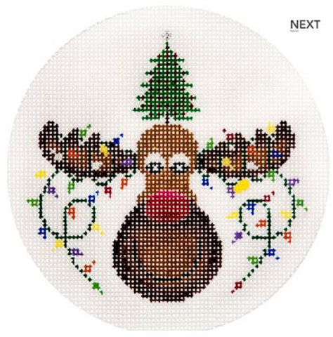 Needlepoint Handpainted CHRISTMAS JP Needlepoint Moose w/ Lights 4.5""