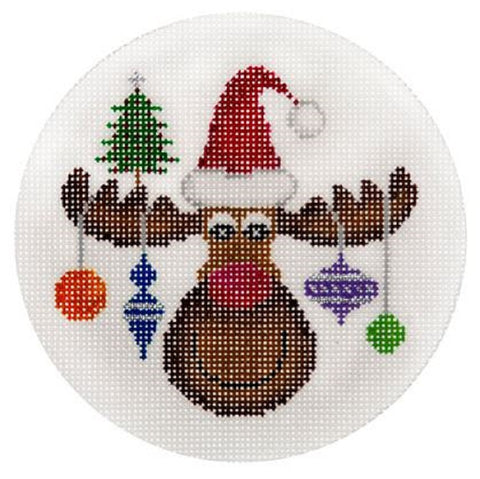 Needlepoint Handpainted CHRISTMAS JP Needlepoint Moose w/ Ornaments 4.5""